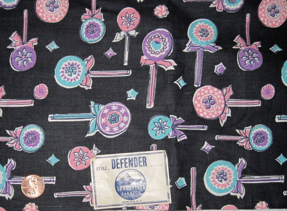 Vintage 1930's Lowenstein Fabrics Lollipop Print Fabric
