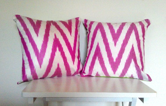 Pair of Reversible Accent Cushion Covers - Pink Rabbit Squirrel Silk Ikat
