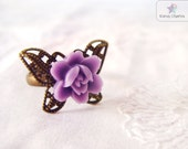 Butterfly Flower Ring Purple Lotus flower Adjustable Butterfly filigree ring Minimalist ring Gift for her Fairy Tale Whimsical Jewelry