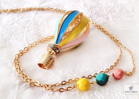 Hot air balloon necklace. Vintage necklace, gold multicolor hot air balloon, pastel yellow, blue, pink beads. Whimsical, dreamy necklace