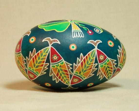 Fish motif goose pysanka