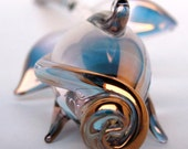 Rose Bud Figurine Anniversary Gift of Blown Glass Gold