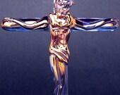 Crucifix Jesus Cross Figurine Blown Glass Crystal Gold