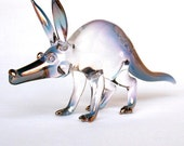 Aardvark Figurine of Hand Blown Glass with 24K Gold