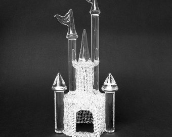 Castle Wedding Cake Top Topper Hand Blown Glass