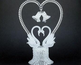 Swans Heart Hand Blown Glass Wedding Cake Top Topper