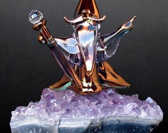 Wizard Figurine Sculpture Blown Glass Amethyst Crystal