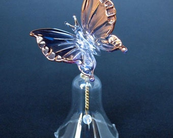 Butterfly Bell Figurine of Hand Blown Glass 24K Gold