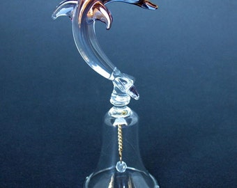 Dolphin Bell Figurine of Hand Blown Glass with 24K Gold