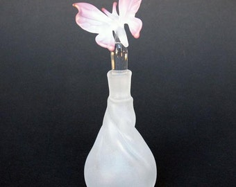 Butterfly Perfume Bottle Hand Blown Glass Gold Crystal