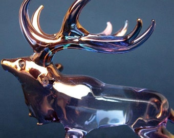 Elk Figurine of Hand Blown Glass with 24K Gold