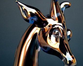 Giraffe Figurine of Hand Blown Glass with 24K Gold