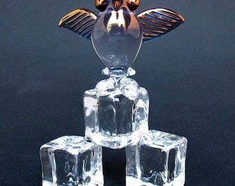 Puffin on Ice Figurine of Hand Blown Glass 24K Gold