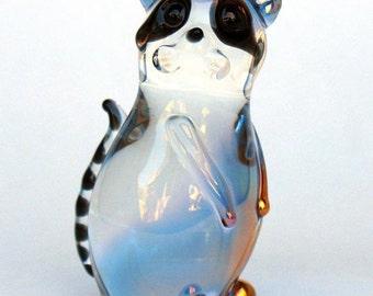 Raccoon Figurine Collectible Sculpture Hand Blown Glass