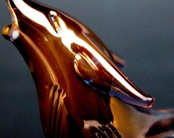 Wolf Figurine Collectible Sculpture of Hand Blown Glass