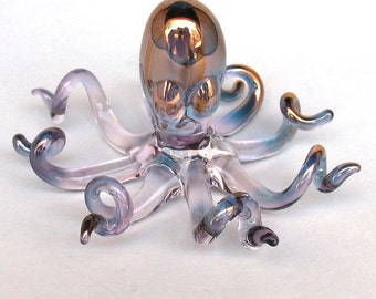 Octopus Figurine of Hand Blown Glass and 24K Gold