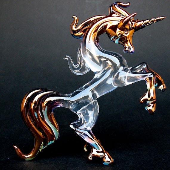 Unicorn Rearing Figurine Sculpture of Hand Blown Glass