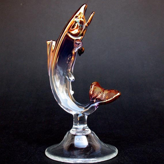 Rainbow Trout Fly Fishing Figurine of Hand Blown Glass