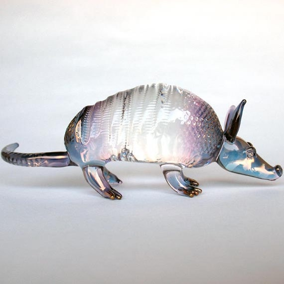 Armadillo Figurine of Hand Blown Glass with 24K Gold