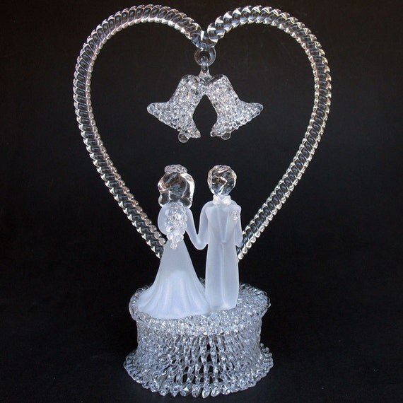 crystal bride and groom wedding cake toppers and groom figurine glass wedding cake top topper 13104