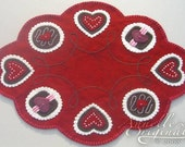Hearts Valentines Penny Rug Wool Applique PATTERN & Wool Felt KIT Holiday Love Chocolates Sweet Candy Needlecraft Primitive Red