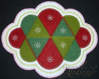 Christmas Winter Snowflakes Penny Rug Candle Mat Wool Applique PATTERN & Wool Felt KIT Holiday Red Green Needlecraft Primitive