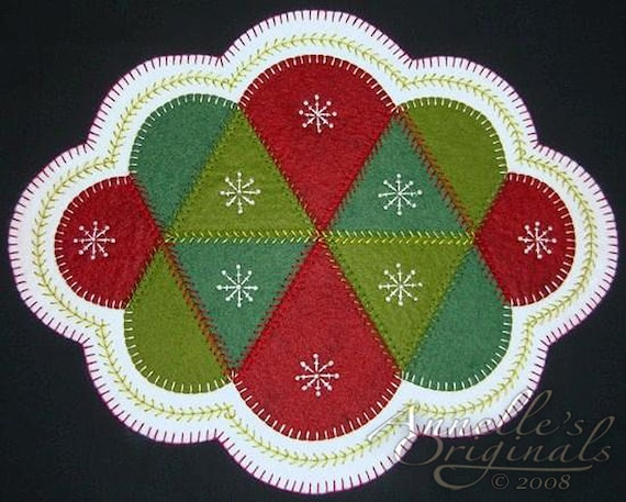 Christmas Winter Snowflakes Penny Rug Candle Mat Wool Applique