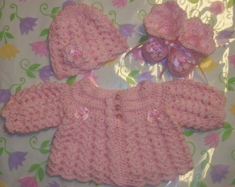 Crochet  Baby Girl Sweater Set Layette Perfect For Take Me Home Baby Shower Gift