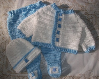 Crochet Baby Boy Sweater Set Layette With Leggings Perfect For Baby Shower Gift Take Home Outfit