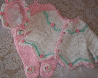 Crochet Baby Girl Sweater Set Layette Perfect For Baby Shower Gift or Take Me Home outfit