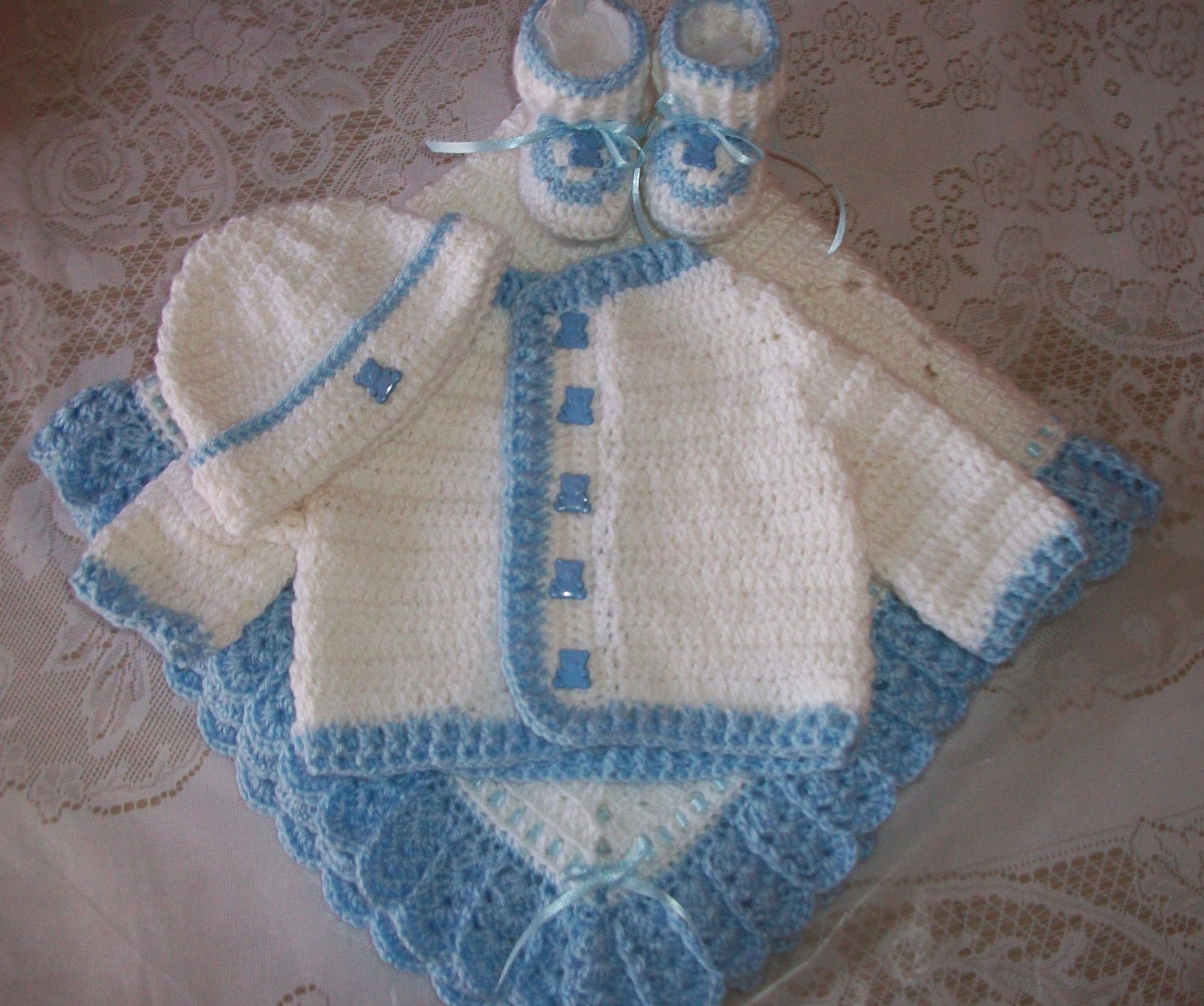 Crochet Baby Boy Sweater Set Layette Perfect For Baby Shower