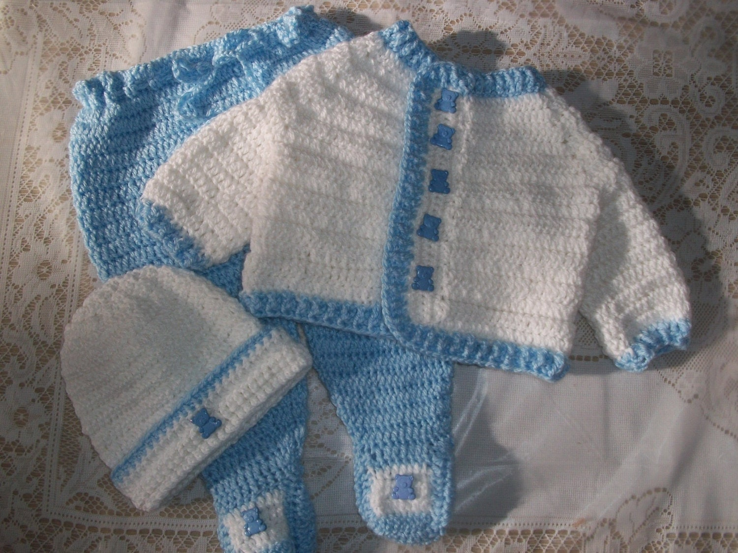 Crochet Baby Boy Sweater Set Layette With Leggings Perfect For