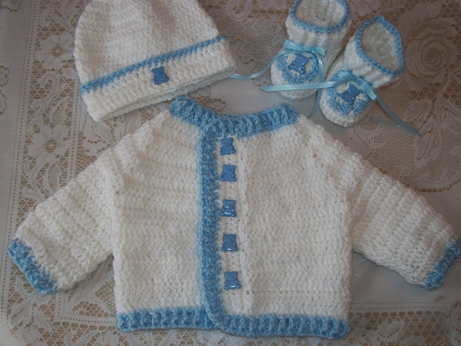 Free Crochet Patterns For Baby Boy Beanies : Crochet Baby Boy Sweater Set Perfect Baby by ...