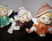 3 Homco Elf Pixie Imp Figurines