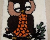 Vintage Owl Latch Hook Rug brown orange out on a limb 70s wall hanging wise and cool