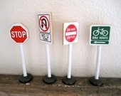 4 Toy Road Signs Wood bike route, stop, no u turn, do not enter
