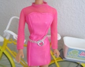 Retro Barbie Style pink go go dress with silver look belt and hot pink faux fur jacket