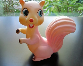 Large Rubber Squeaky Pink Squirrel Baby Toy Vintage Binky