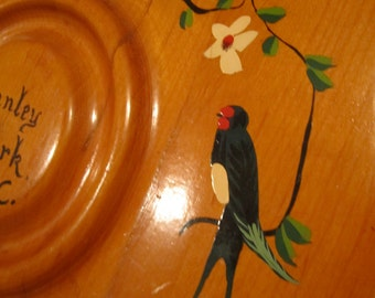 Vintage Round Wood Hand painted tray with Birds and flowers