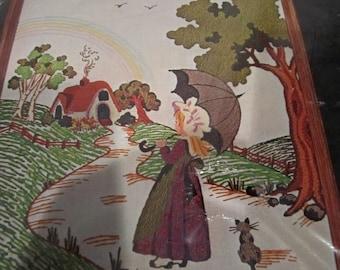 Rainbow Kit Sultana Creative Needlecraft Crewel embroidery unopened vintage girl on path with kitten