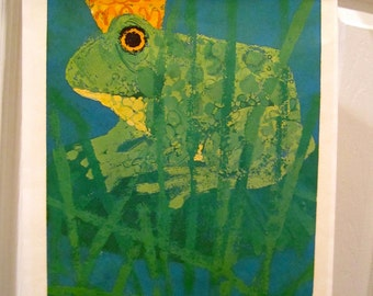 Vintage Art Print Aesops Fables The Frog Prince  by Artist Linda Powell  Green crowned frog
