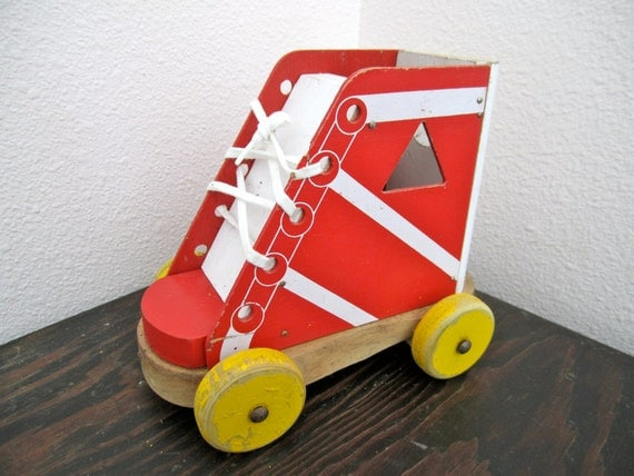 Rustic Retro Lace up Shoe Toy Maybe playskool wood