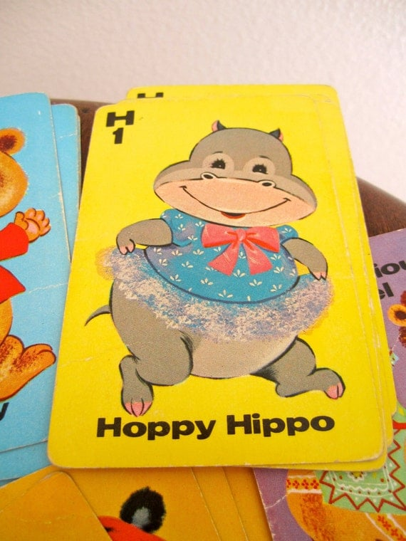 Whitman Animal Rummy Cards Set of 44 and instructions  hippo monkey alligator