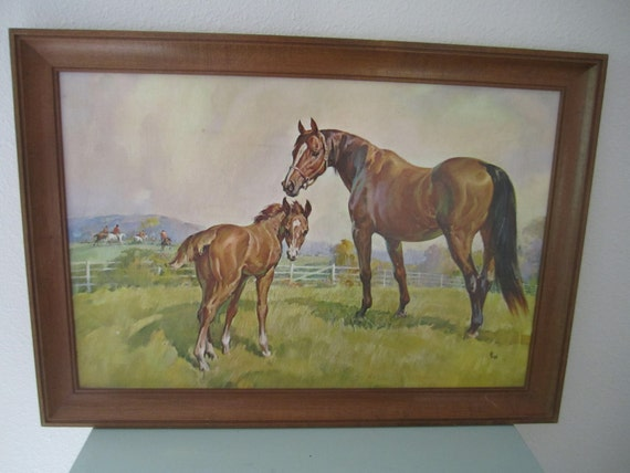 Vintage Horse and Foal print with frame brown mare