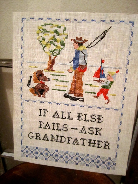 Vintage Embroidery Grandpa and child with Dog and sailboat going fishing cross stich