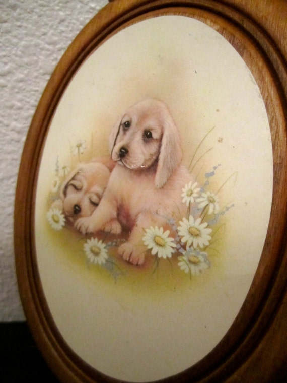 Golden Retriever Puppy wood plaque dog picture vintage thin