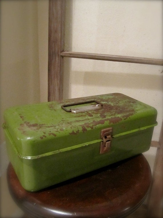 Green Metal fishing tackle olive color box rustic tool container industrial chic