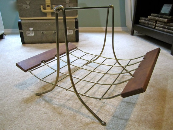 Large Magazine Rack Mid Century Modern Wood and Wire Vintage Gold Tone Atomic Age firewood holder even