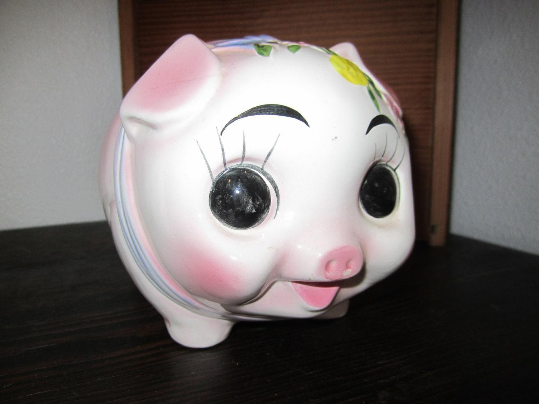 Ceramic pig bank cute pink large eyes - Extra large ceramic piggy bank ...