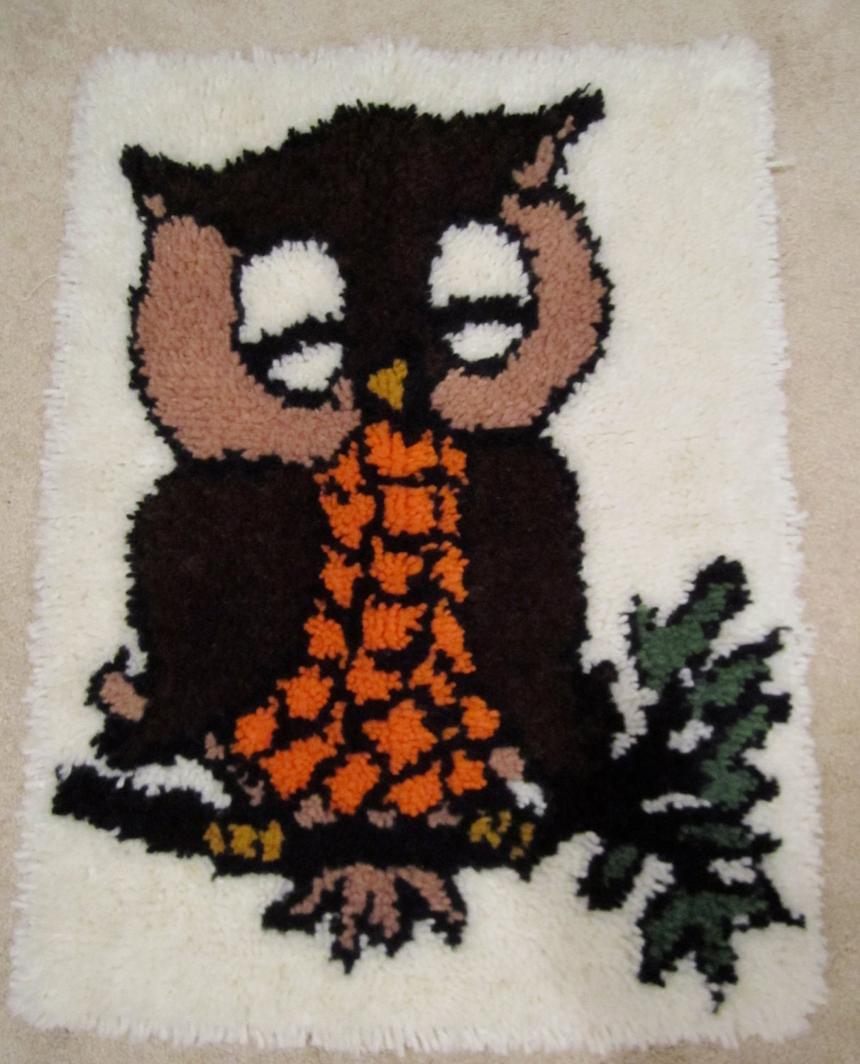 Vintage Owl Latch Hook Rug Brown Orange Out On A Limb 70s Wall